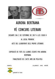 Cartell entrega de premis concurs literari Aurora Bertrana
